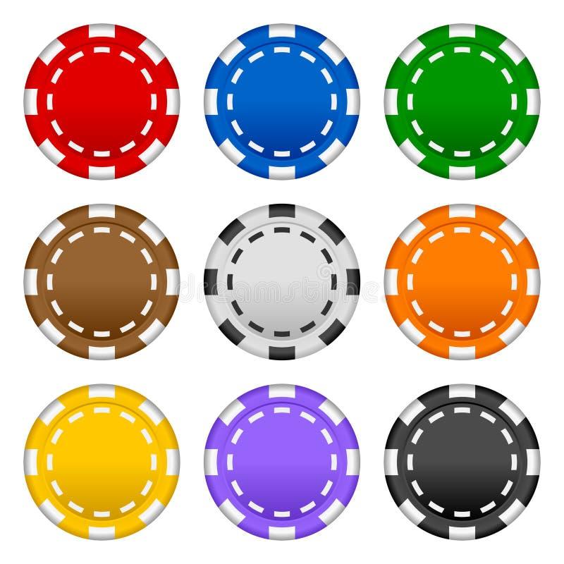 chiper som spelar pokerseten royaltyfri illustrationer