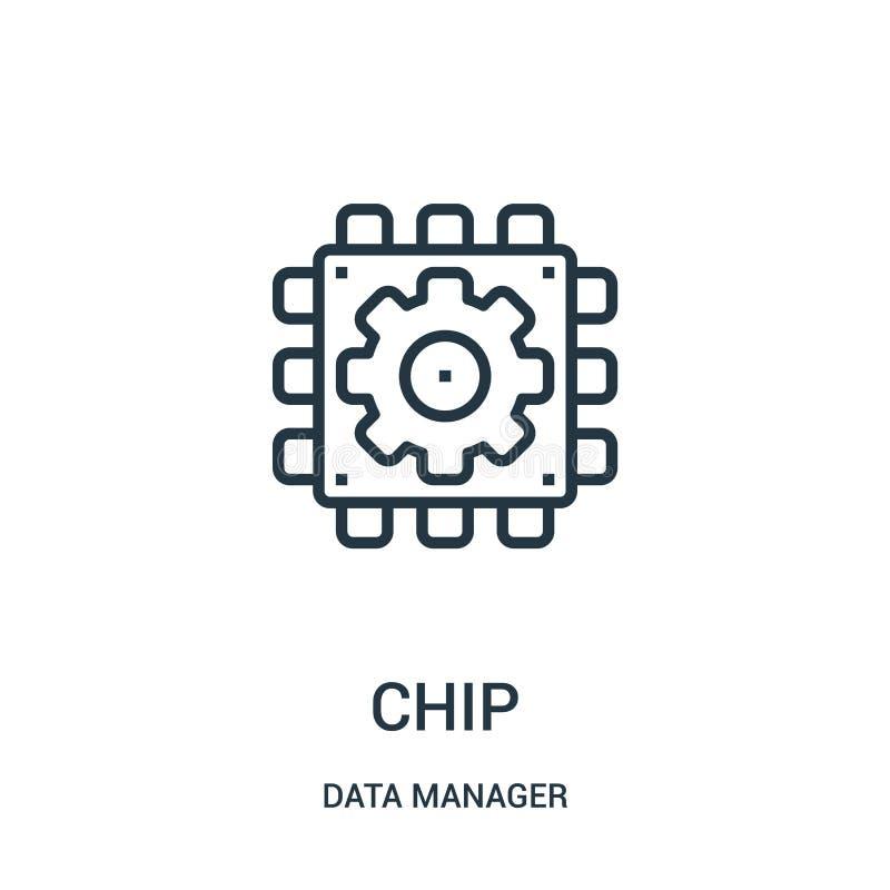 Chipikonenvektor von der Datenmanagersammlung Dünne Linie Chipentwurfsikonen-Vektorillustration Lineares Symbol für Gebrauch auf  lizenzfreie abbildung