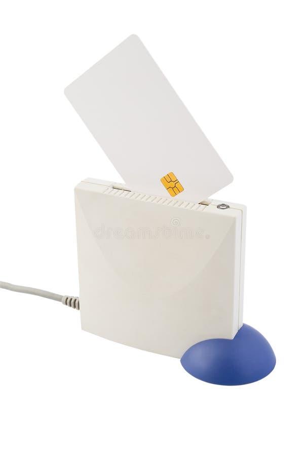 Chipkarte und Kartenleser stockfoto