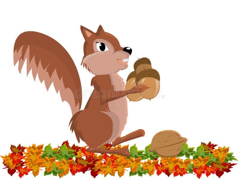 Chipmunk sveglio divertente con l'arachide illustrazione vettoriale
