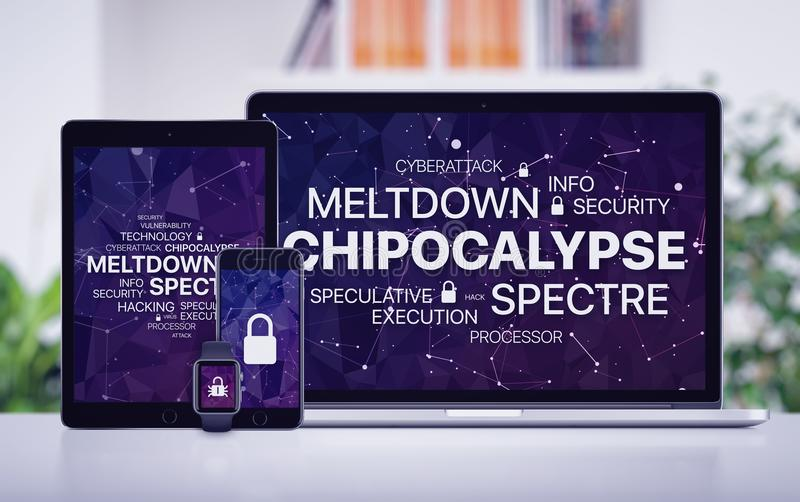 Chipocalypse concept with meltdown and spectre threat on screens of various devices royalty free stock photos