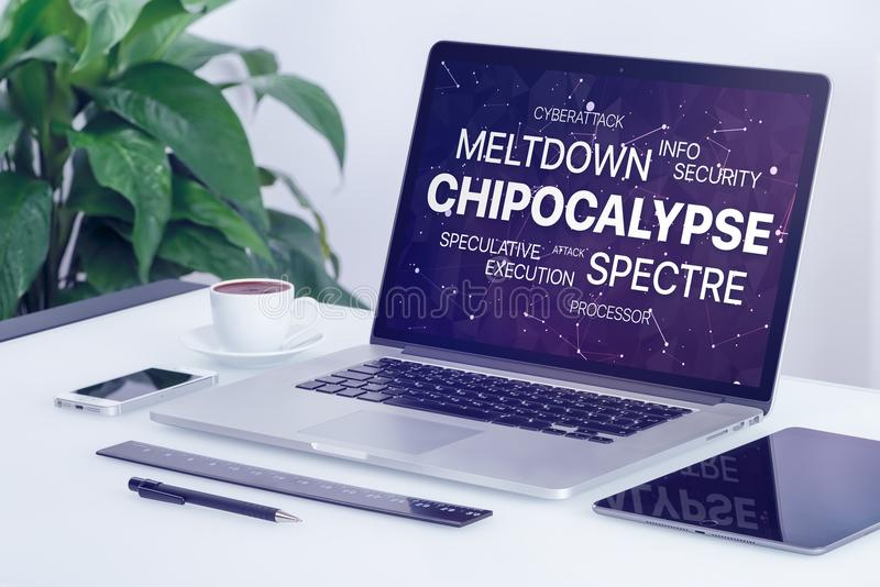 Chipocalypse concept with meltdown and spectre threat word cloud on laptop screen royalty free stock photography