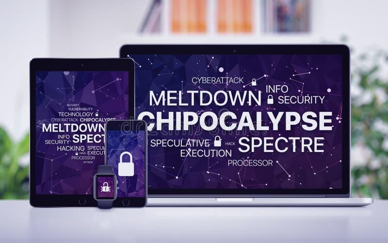 Chipocalypse-Konzept mit Einschmelzen und Erscheinungsdrohung auf Schirmen von verschiedenen Geräten lizenzfreie stockfotos