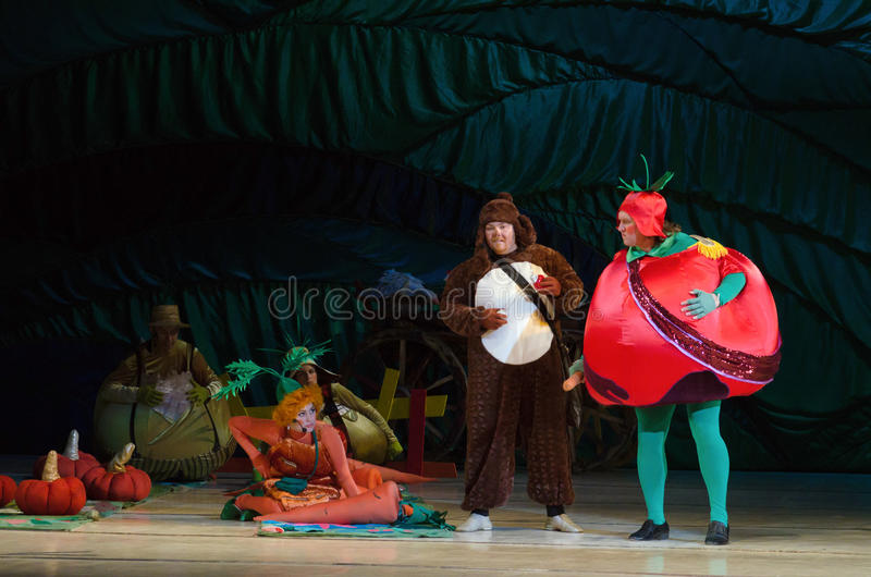 Chipollino. DNIPROPETROVSK, UKRAINE - DECEMBER 30: Members of the Dnepropetrovsk State Opera and Ballet Theatre perform CHIPOLLINO on December 30, 2014 in royalty free stock photos