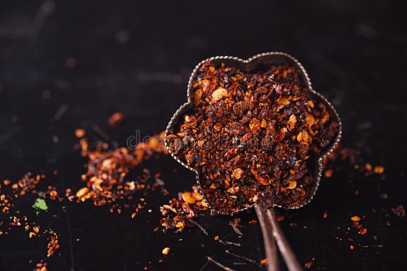 Chipotle墨西哥胡椒熏制的辣椒剥落 图库摄影