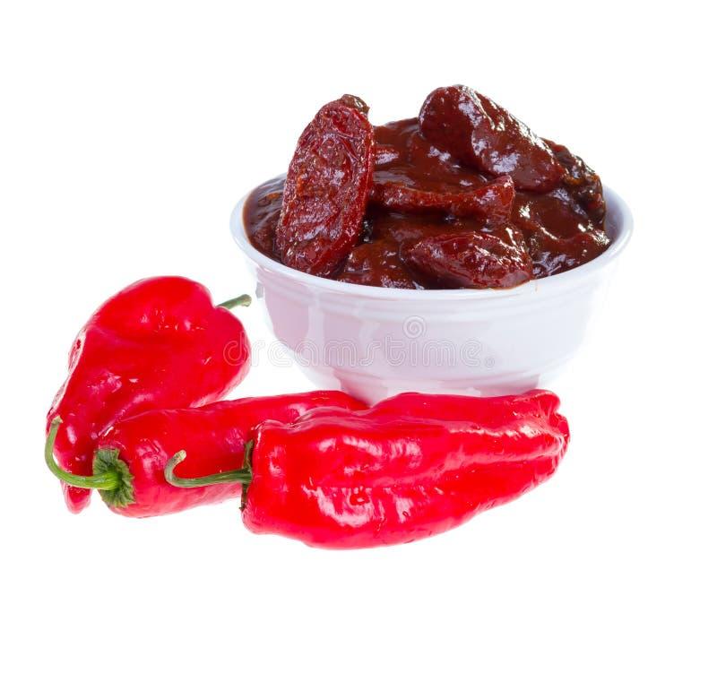 Chipotle en sauce à adobo. photographie stock