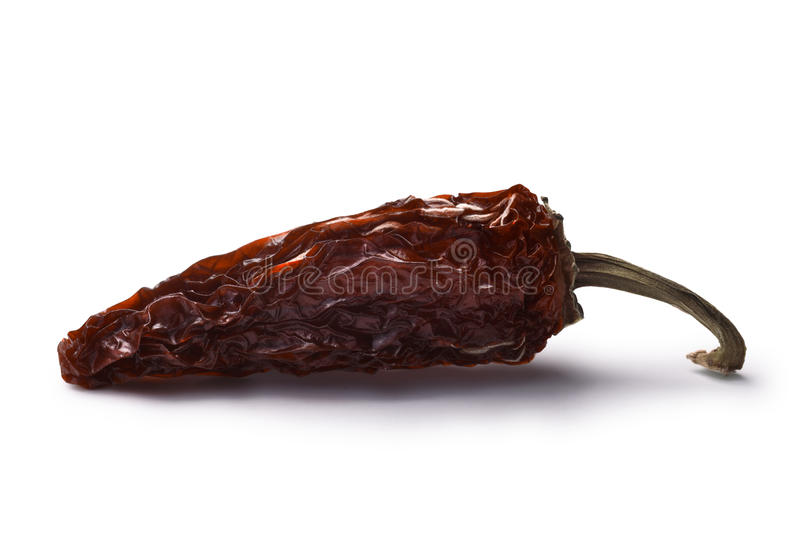 Chipotle morita-smoked Jalapeno, paths. Chipotle morita, a whole smoked overripe Jalapeno pepper. Clipping paths, shadow separated royalty free stock photography