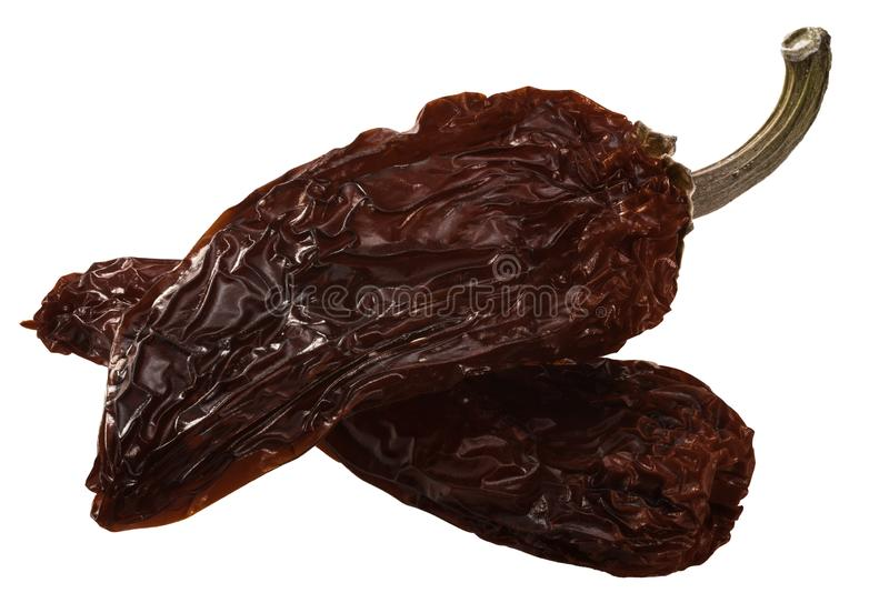 Chipotle smoke-dried jalapeno peppers, paths. Chipotle Morita, a whole smoke-dried overripe Jalapeno chile peppers stock images