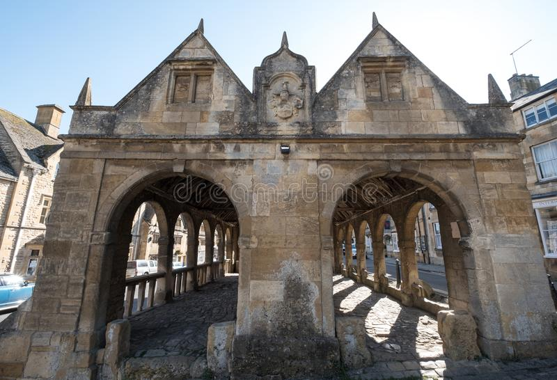 Chipping Campden, Gloucestershire, UK. Exterior of Market Hall, historic arched building standing in the centre of the town. Built from limestone, provided royalty free stock photos
