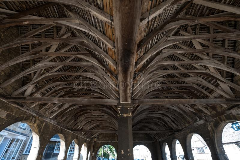 Chipping Campden, Gloucestershire, UK. Arches, ceiling and interior of Market Hall, historic arched building. Chipping Campden, Gloucestershire, UK. Market Hall royalty free stock photography