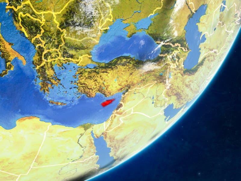Chipre en la tierra del espacio stock de ilustración