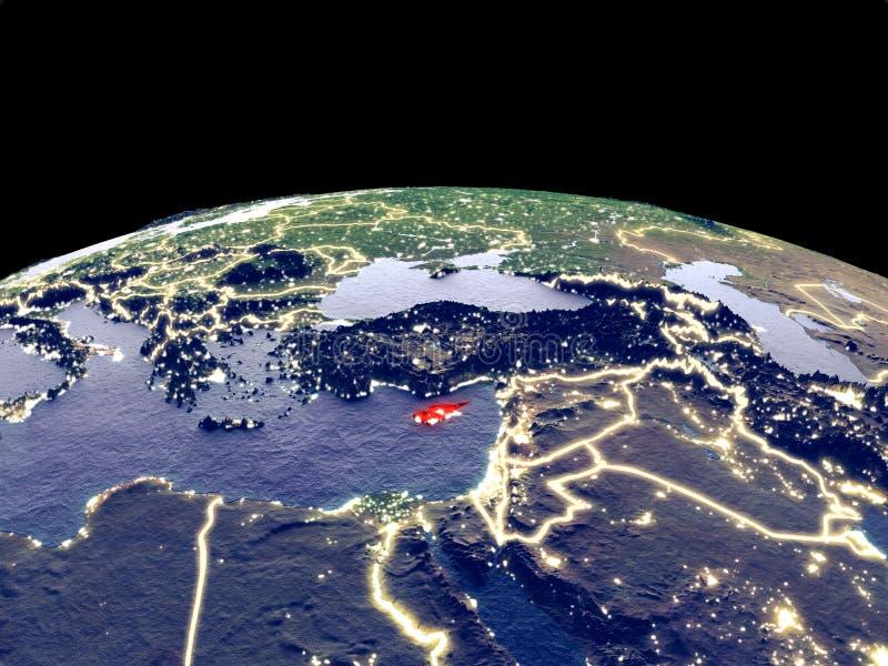 Chipre en la tierra del espacio ilustración del vector