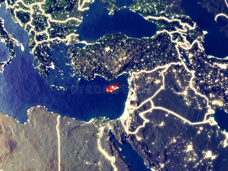 Chipre en la tierra en la noche stock de ilustración