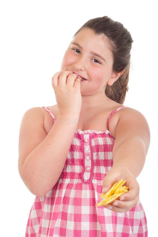 chips att erbjuda för flicka royaltyfri fotografi