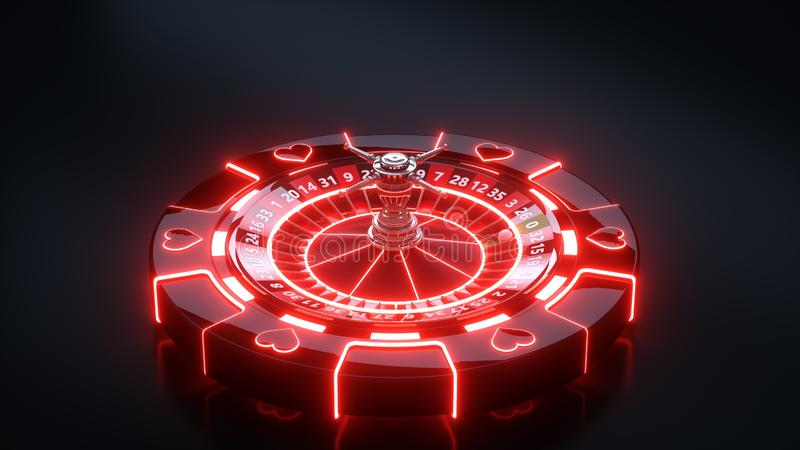 Chips and Casino Roulette Wheel Concept Design. Casino Gambling Roulette With Neon Lights - 3D Illustration. Casino Gambling Futuristic Concept, Roulette Wheel stock illustration