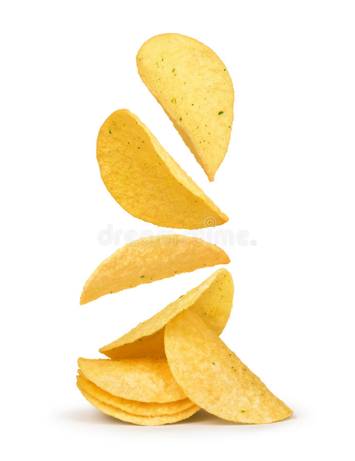 Chips die in de lucht vallen stock fotografie