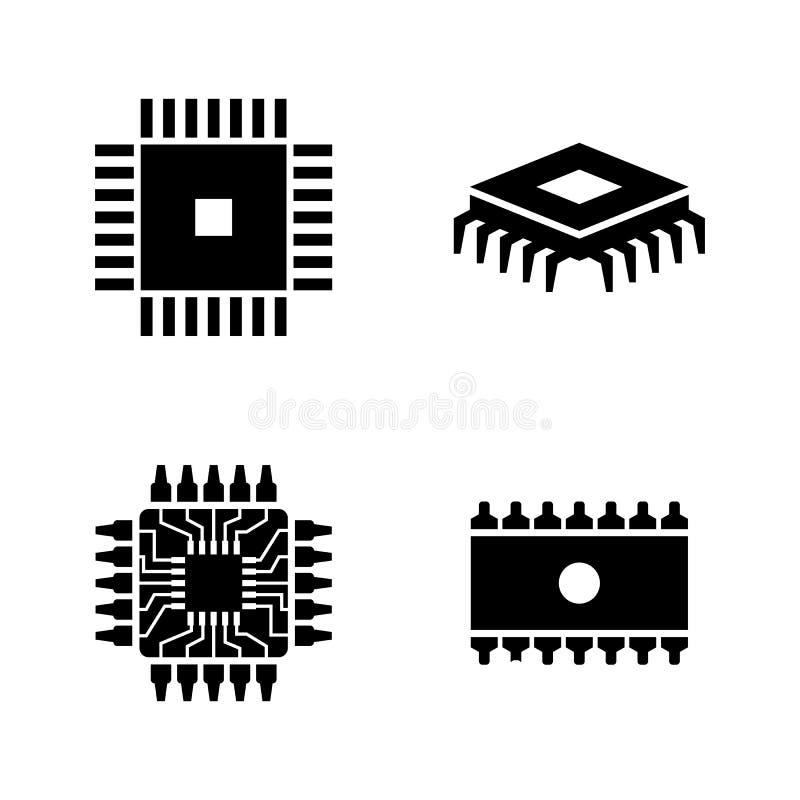 Chips, Elektronische Kring Eenvoudige Verwante Vectorpictogrammen vector illustratie