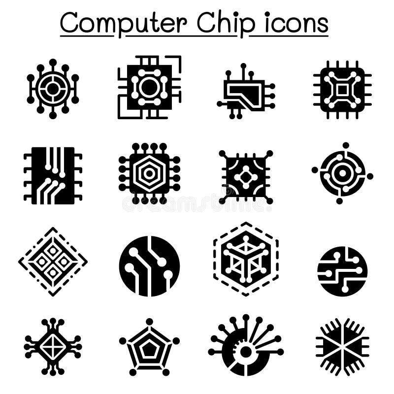 Chips en Elektronische Kringspictogrammen stock illustratie