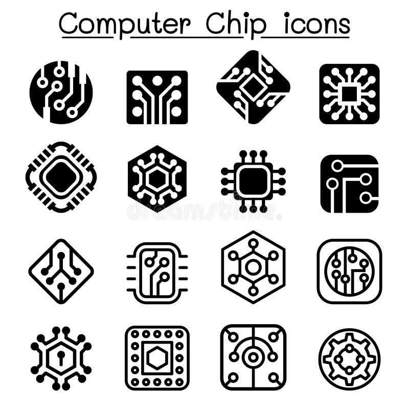 Chips en Elektronische Kringspictogrammen vector illustratie