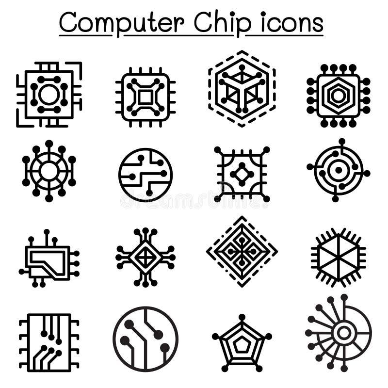 Chips en Elektronische Kringspictogrammen in dunne lijnstijl vector illustratie