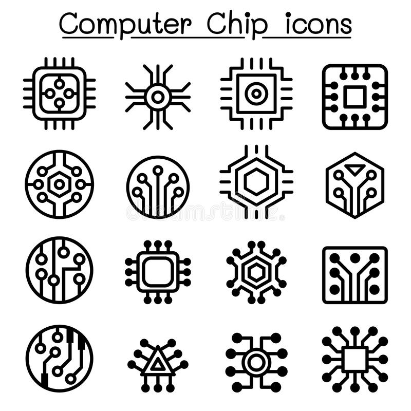 Chips en Elektronische Kringspictogrammen in dunne lijnstijl stock illustratie