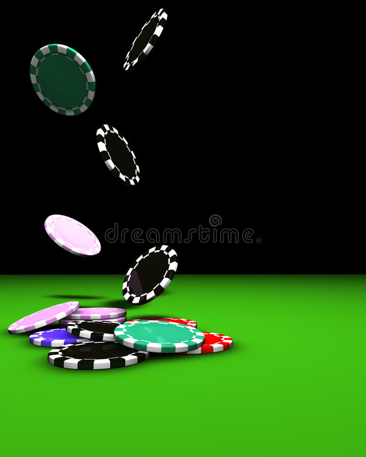 Chips Falling. 3d rendering of colored chips falling on a green table. Great background for magazines, banners, webpages, flyers, etc stock illustration