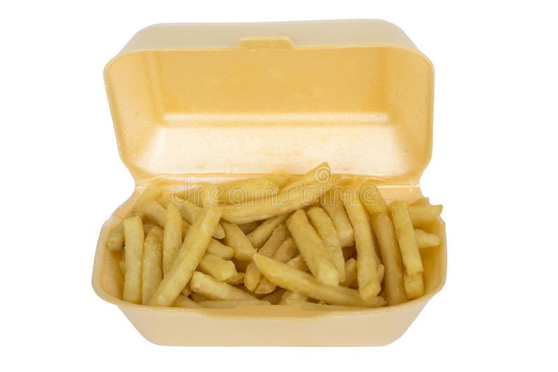 Chips Fries diente im Mitnehmerkasten-Karton stockfotografie