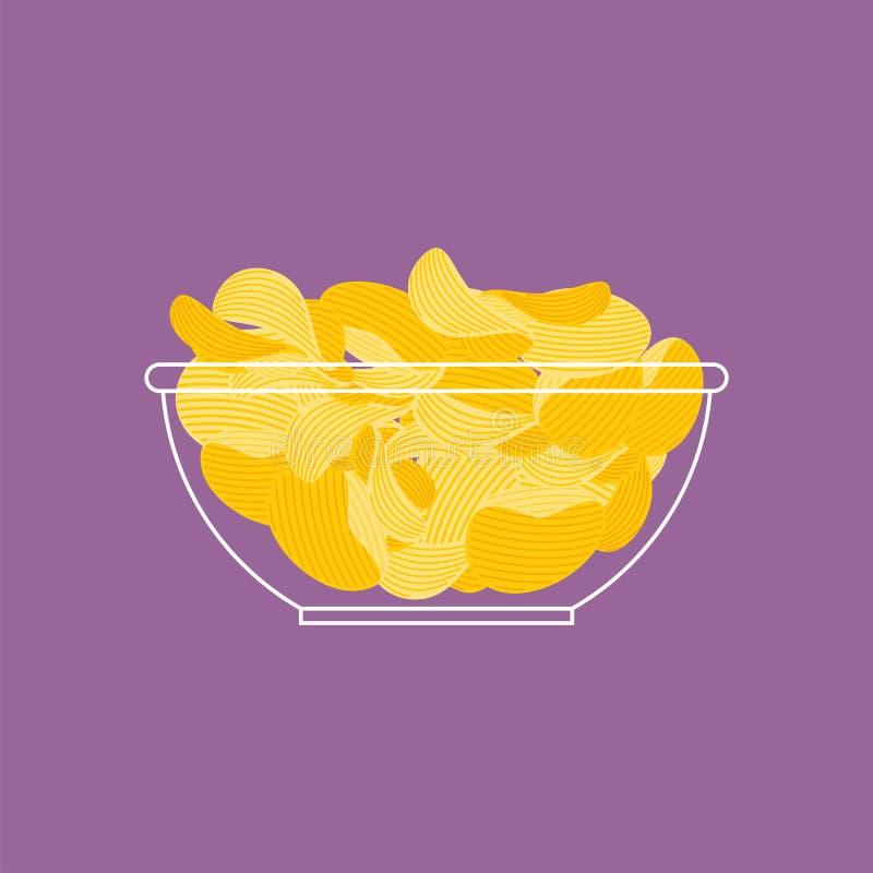 Chips in geïsoleerde kom De gebraden vector van het snackvoedsel stock illustratie