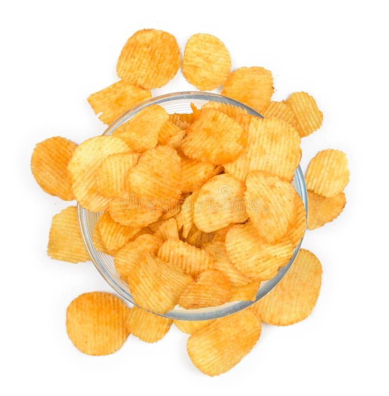 Chips in glaskom stock fotografie