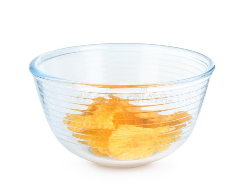 Chips in glaskom royalty-vrije stock afbeelding