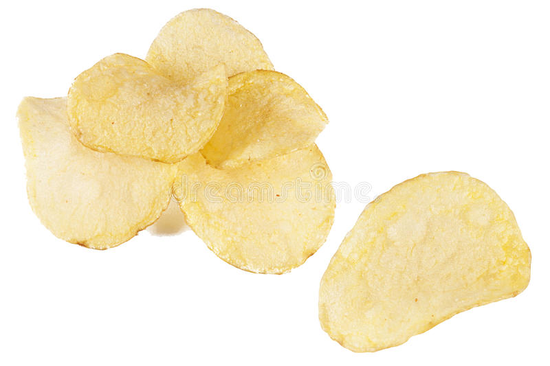 Chips. A handful of chips on white background stock photography