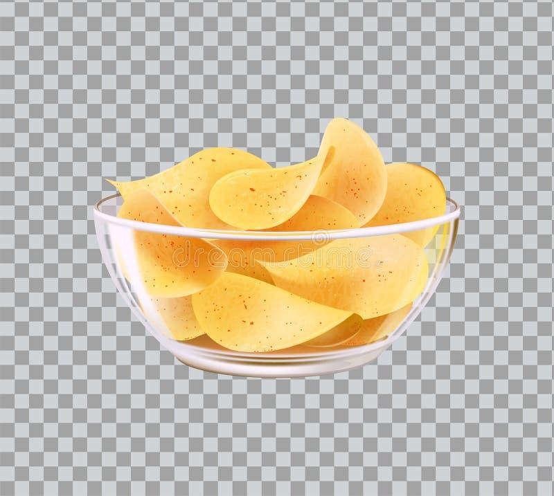 Chips im Glasschüssel-Imbiss Bier-zum Schnellgericht vektor abbildung