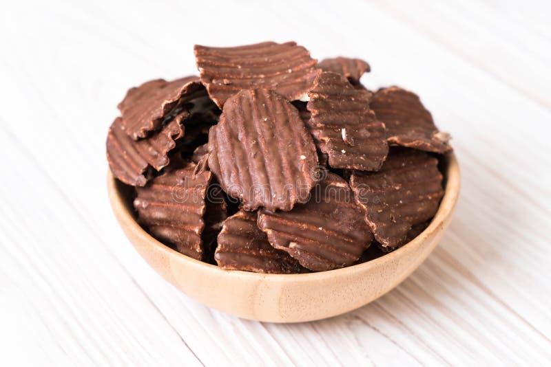 chips met chocolade royalty-vrije stock fotografie