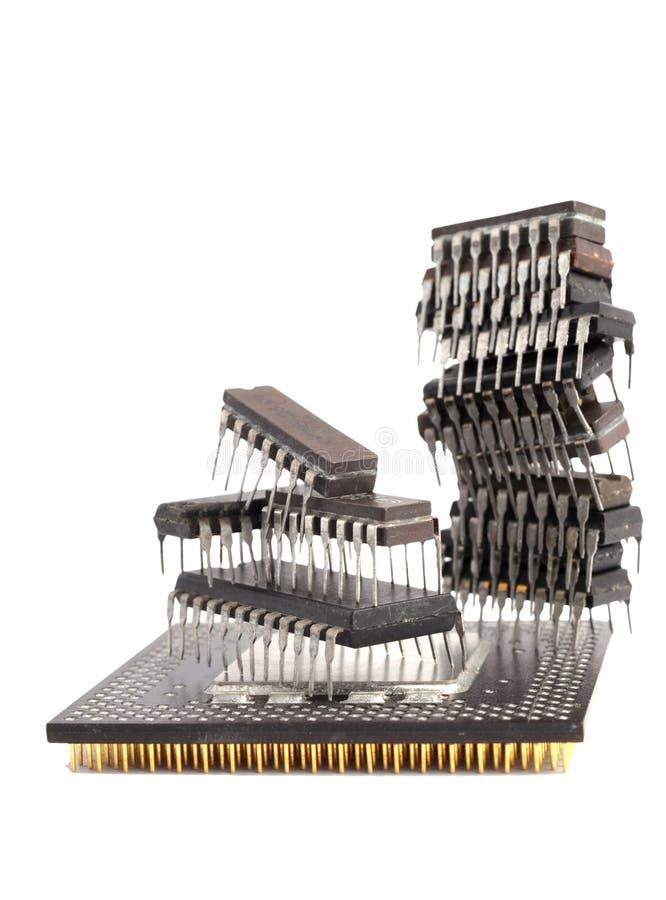 chips microcircuiten royaltyfri bild