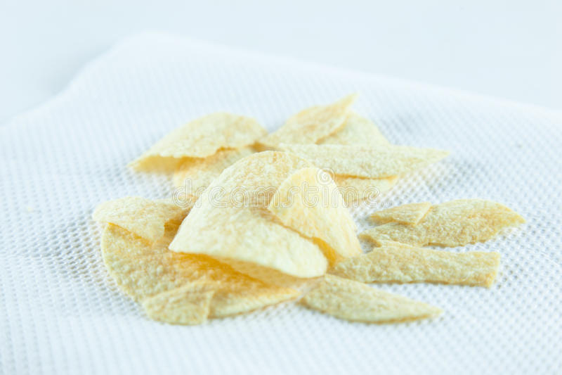 Chips op weefsel. stock foto's