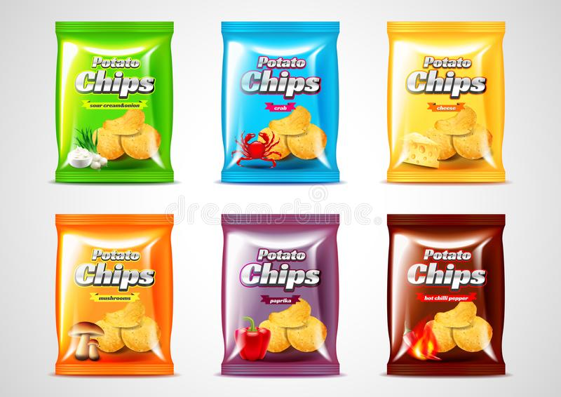 Chips package design, photo realistic vector set. Six flavors stock illustration