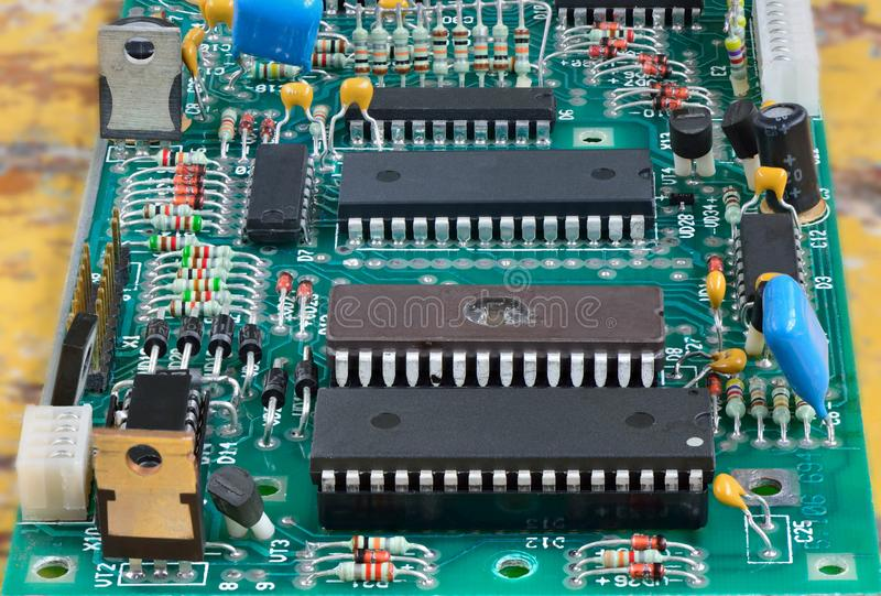 Chips on the PCB stock photography