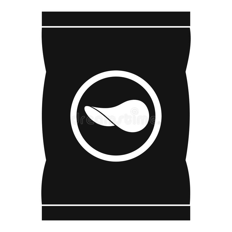 Chips plastic bag icon, simple style. Chips plastic bag icon. Simple illustration of chips plastic bag vector icon for web royalty free illustration