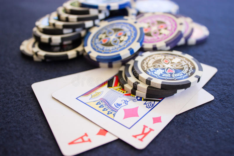 Chips on Playing Cards stock photography