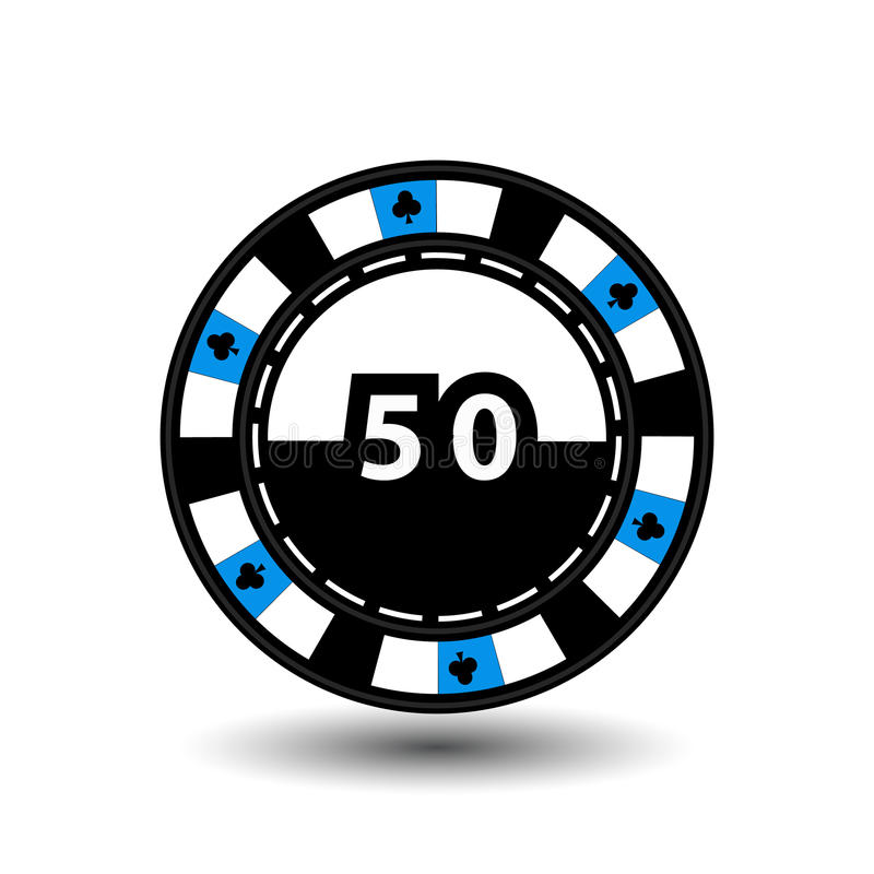 Chips for poker blue figure 50 in the middle clab and a suit sideways. round white dotted line . an icon on the isolated backgr vector illustration
