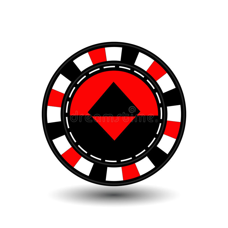 Chips for poker red a suit diamond black and white dotted line the . an icon on the isolated background. illustration eps 10 ve. Chips for poker red a suit stock illustration