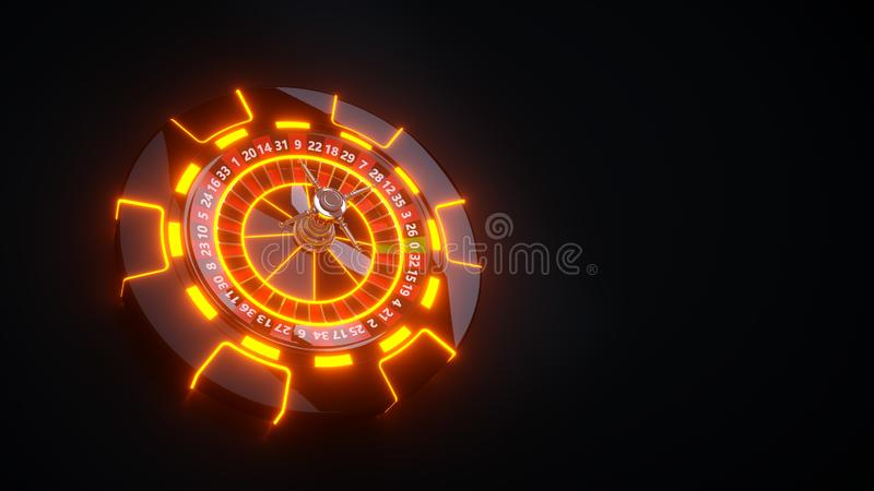 Chips and Roulette Wheel Concept Design. Casino Gambling Roulette - 3D Illustration. Casino Gambling Futuristic Concept, Roulette Wheel and Poker Chips 3D vector illustration