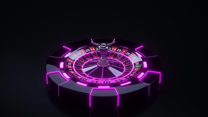 Chips and Roulette Wheel Concept Design. Online Casino Gambling Roulette - 3D Illustration. Casino Gambling Futuristic Concept, Roulette Wheel and Poker Chips 3D vector illustration