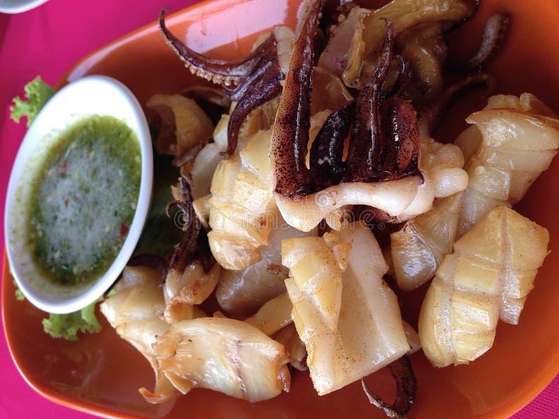 chips smażący calamari obraz stock