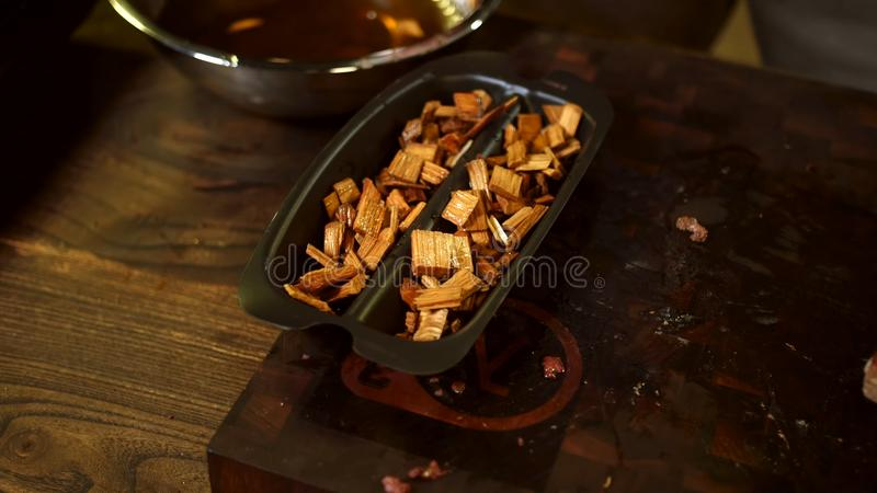 Chips for smoking meat background. royalty free stock photos