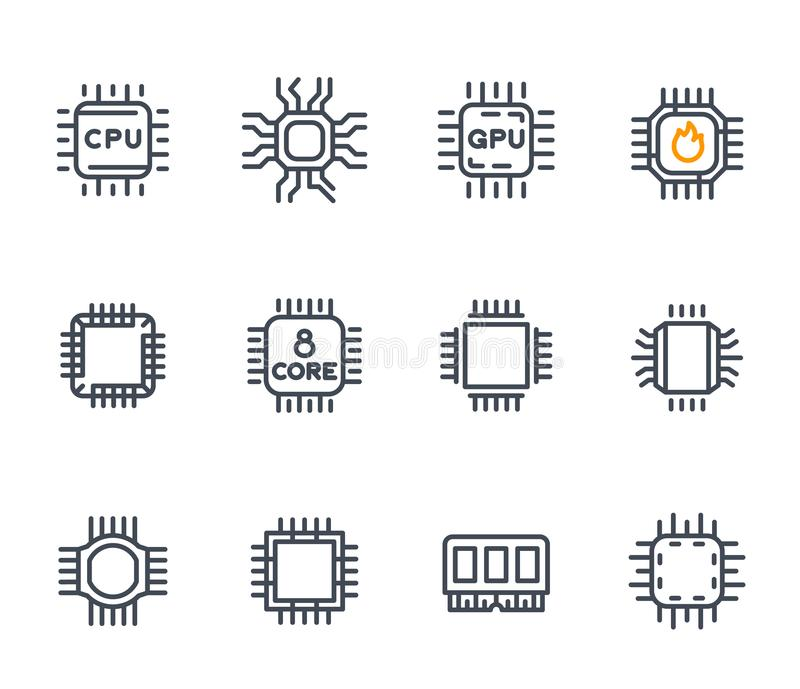 Chipset, cpu-pictogrammen, microchip, 8 kernbewerker vector illustratie