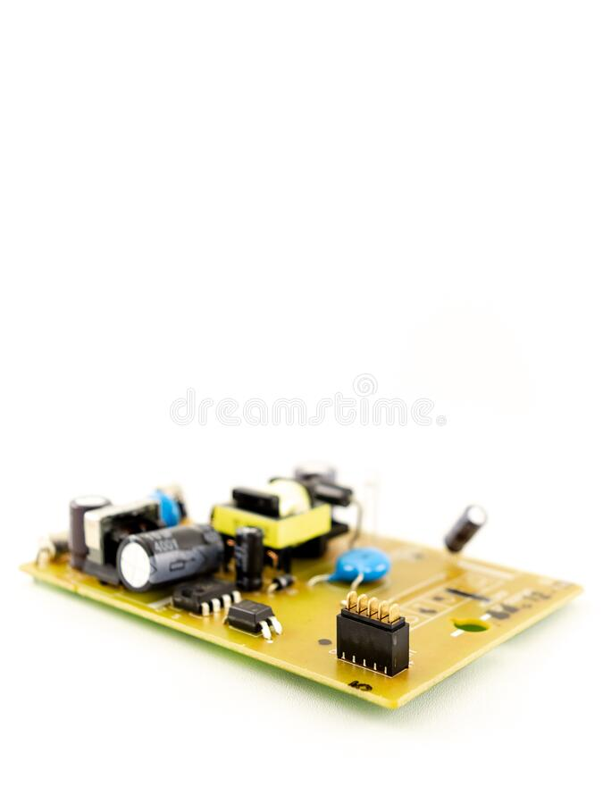 Chipset and electronic component installed on small circuit board with white background stock photography