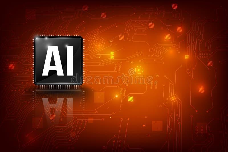 Chipset för CPU för teknologi för konstgjord intelligens för AI med linje 003 för anslutning för prick för tryckströmkretsbräde royaltyfri illustrationer
