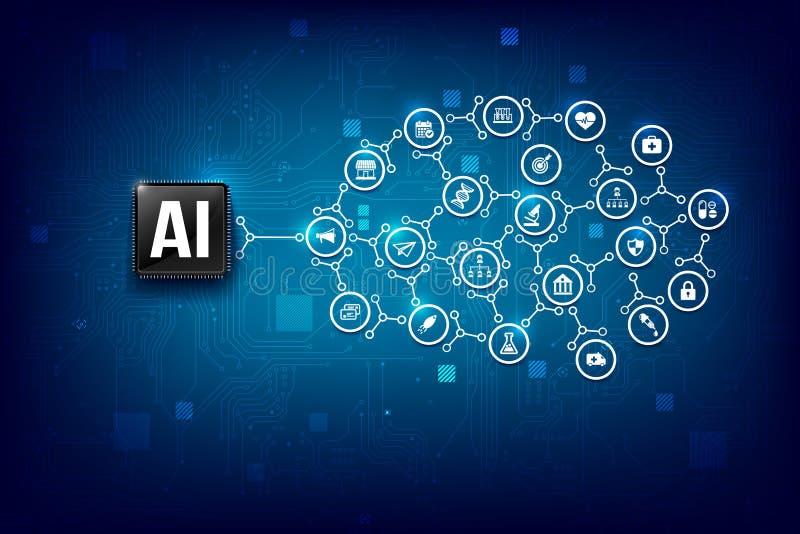 Chipset för CPU för teknologi för konstgjord intelligens för AI med linje 004 för anslutning för prick för tryckströmkretsbräde stock illustrationer