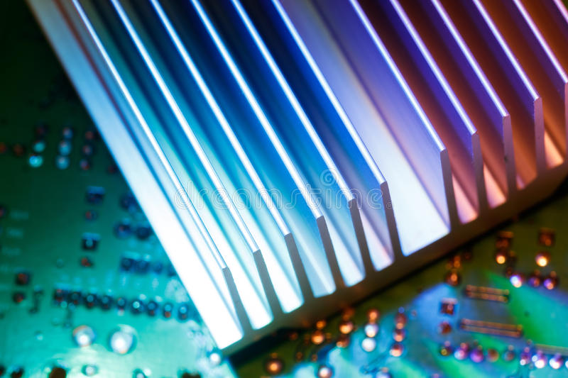 Chipset heatsink. Close up of a chipset heatsink on motherboard stock image